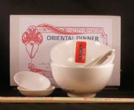 Vitrified Porcelain Chinese White Dinner Set for FOUR -  4 Rice & Dip Bowls 4 Spoons & 8 WHITE Chopsticks